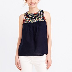 Embroidered linen-cotton tank top