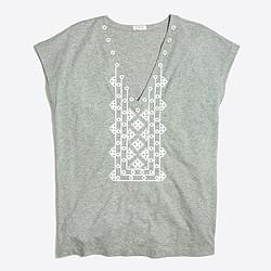 Embroidered V-neck T-shirt
