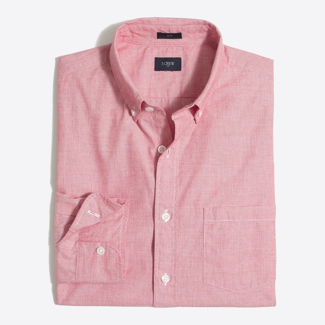 Slim washed shirt in end-on-end cotton