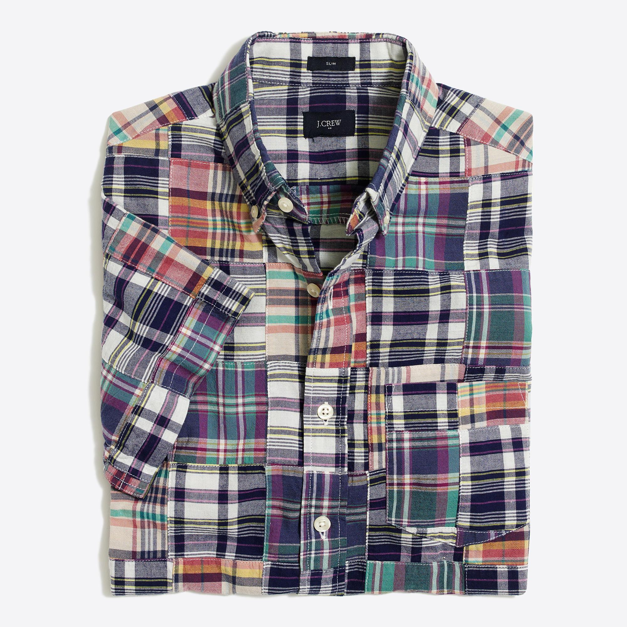 Slim short sleeve patchwork madras shirt factorymen for Mens madras shirt sale