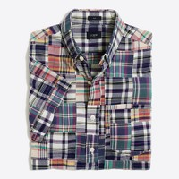 Slim short-sleeve patchwork madras shirt