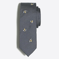 Printed embroidered silk tie