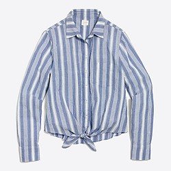 Striped tie-waist shirt