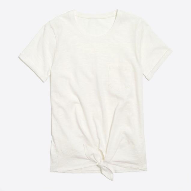 Tie-waist pocket T-shirt
