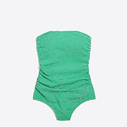 Gingham strapless one-piece swimsuit