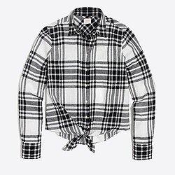 Plaid tie-waist shirt