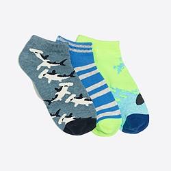 Boys' surf shark ankle socks three-pack