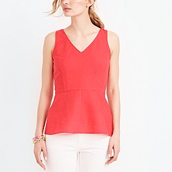 Linen-cotton peplum tank top