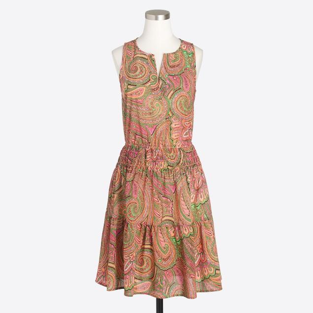 Printed sleeveless tiered dress