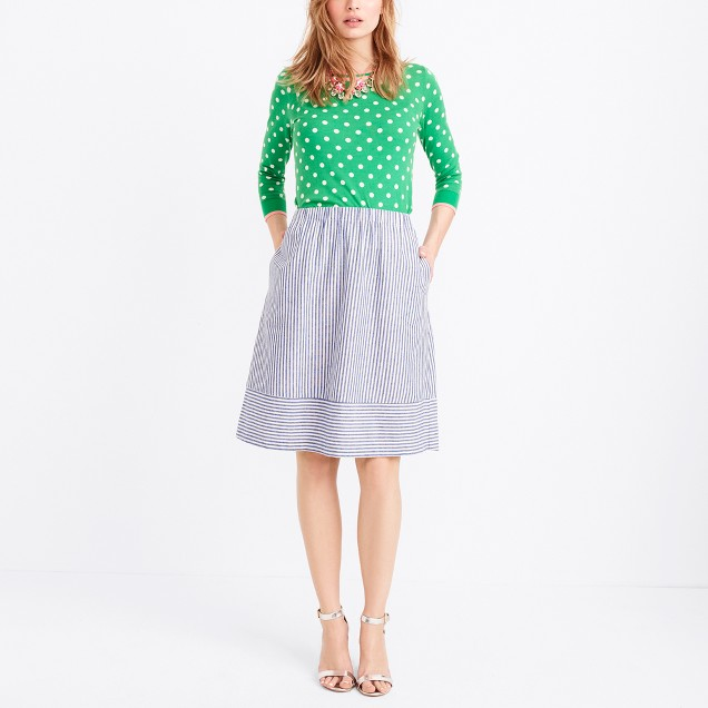 Striped cotton-linen midi skirt
