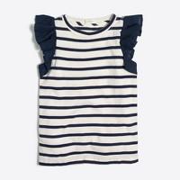 Girls' striped flutter sleeve tank top