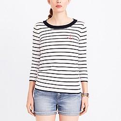 Anchor striped three-quarter-sleeve sweater