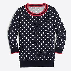 Tipped polka-dot three-quarter-sleeve sweater