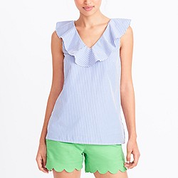 Striped V-neck ruffle tank top