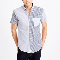 Slim short-sleeve pieced washed shirt