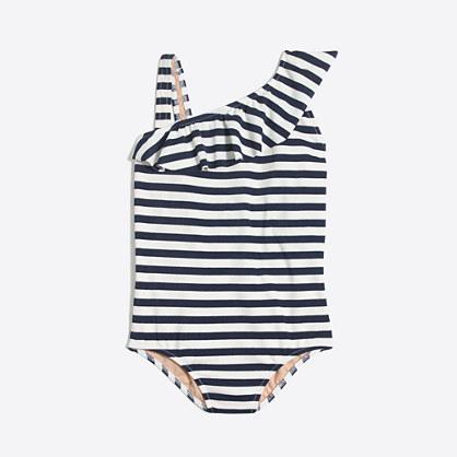 Girls' striped ruffle one-piece swimsuit