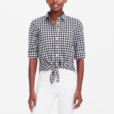 Printed tie-waist shirt factorywomen shirts & tops c