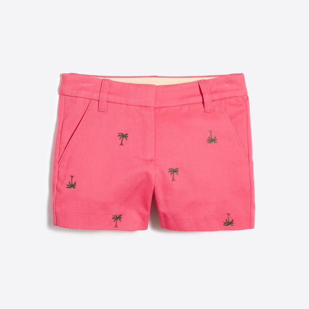 Girls' critter printed chino short