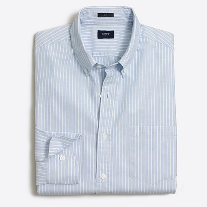 Slim striped washed shirt in end-on-end cotton