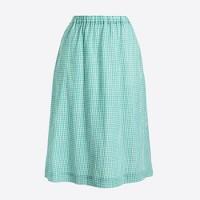 Crinkle gingham midi skirt