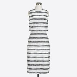 Mixed-stripe tweed dress