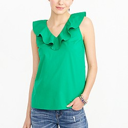 V-neck ruffle tank top