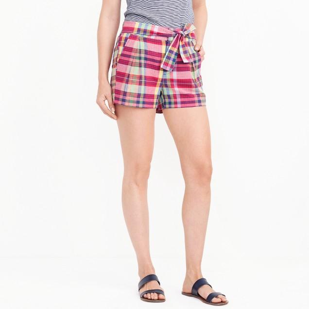 "3"" madras tie-waist short"