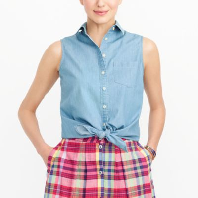 Chambray tie-waist tank top