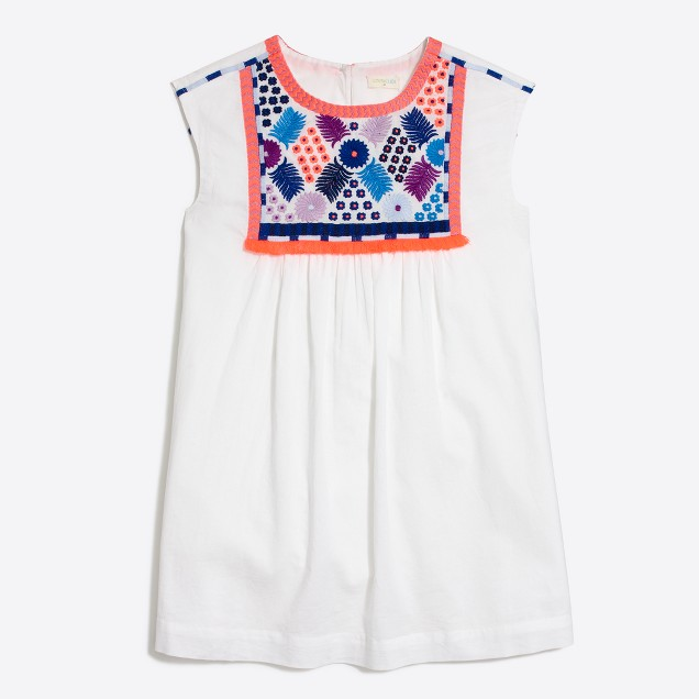 Girls' short-sleeve embroidered dress