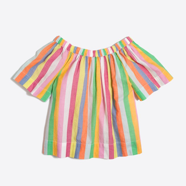 Girls' short-sleeve rainbow stripe ruched top