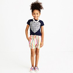 Girls' rainbow stripe printed pull-on short