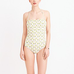 Bandeau one-piece swimsuit in lemon print
