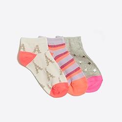 Kids' printed ankle socks three-pack