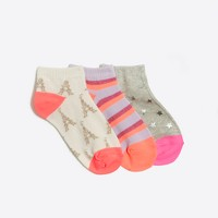 Kids' printed ankle socks three-pack