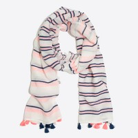 Vertical-stripe tassel scarf