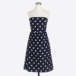 Strapless printed poplin dress