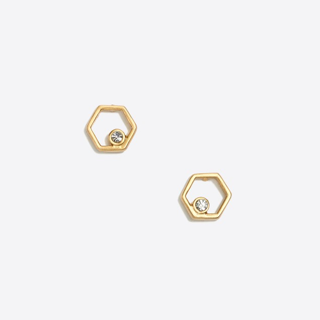 Golden hexagon stud earrings