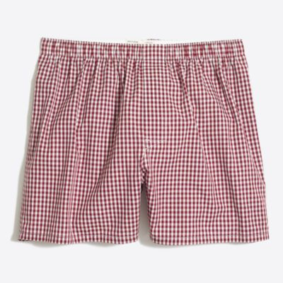 Gingham boxers with red maple print