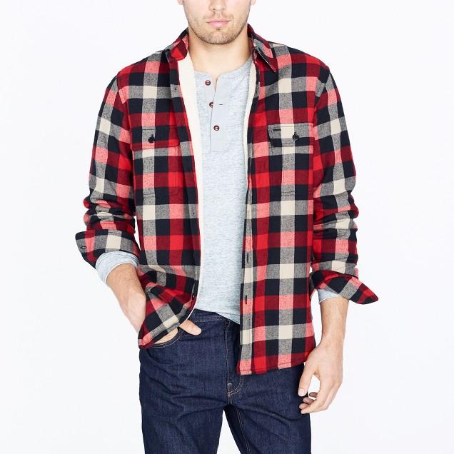 Sherpa-lined flannel jacket