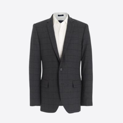 Slim flex Thompson suit jacket in windowpane flex wool