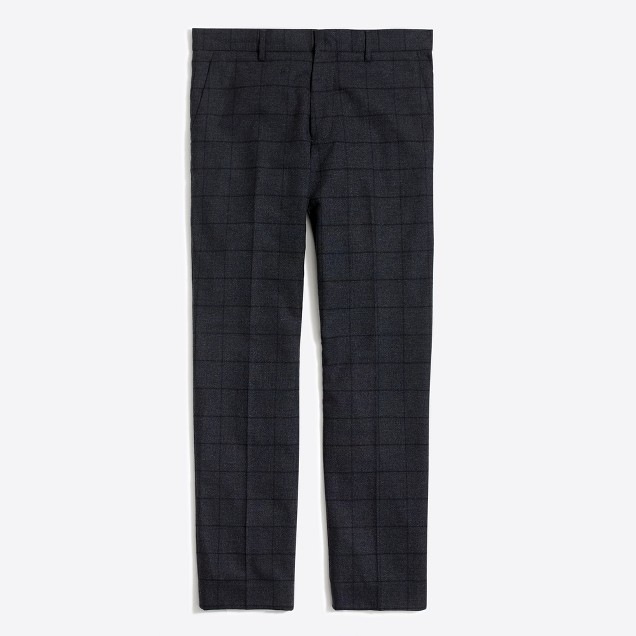 Slim suit pant in windowpane flex wool