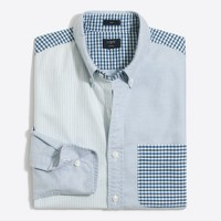 Slim mixed-patterned oxford shirt