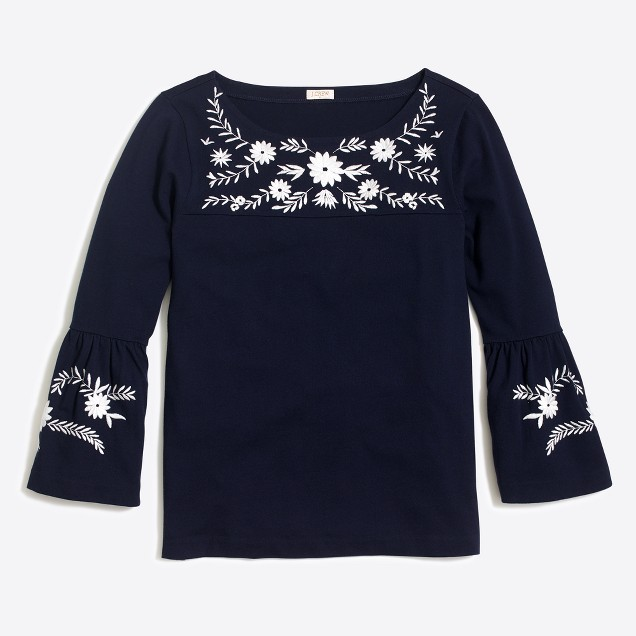 Embroidered bell-sleeve T-shirt