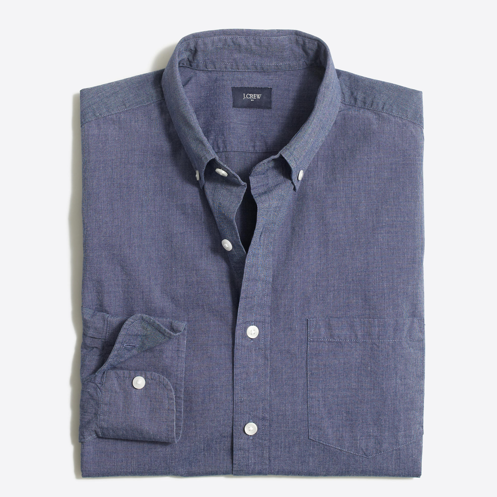 Tall slim washed shirt in end on end cotton factorymen for Slim and tall shirts