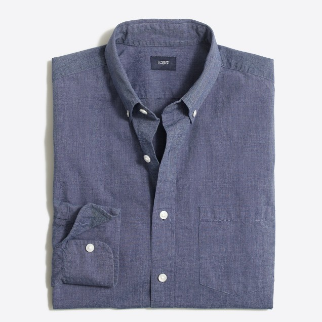 Tall slim washed shirt in end-on-end cotton