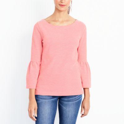 Striped bell-sleeve T-shirt