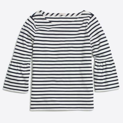Striped bell-sleeve T-shirt factorywomen new arrivals c