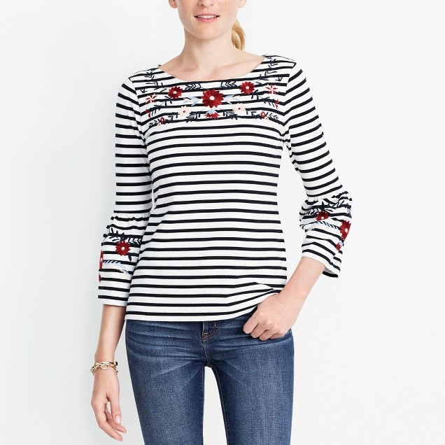 Embroidered striped bell-sleeve T-shirt