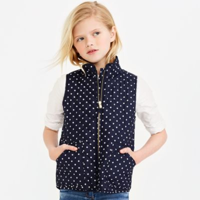 Girls' printed puffer vest