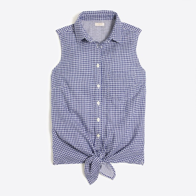 Gingham tie-waist tank top